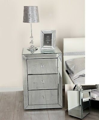 Mirrored Bed Side Drawers Tables Mirror Glass Drawer Cabinet Bedroom Nightstand