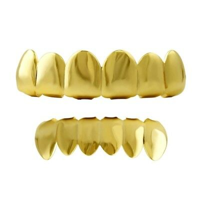 Bling Bling Grillz Plain Gold Top & Bottom Hiphop Bling Bling Grillz Set