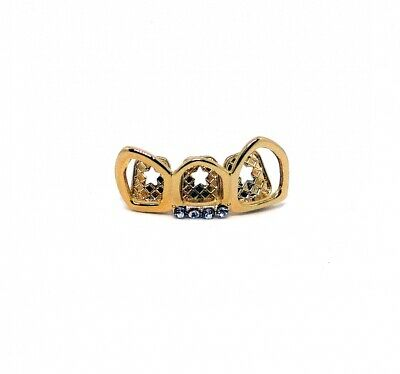 Grillzz Gold Plated Top Row Open Faced Hiphop Bling Tooth Grillzz