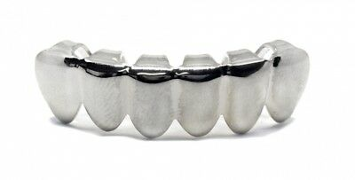 Bling Grillz Plain Chrome Silver Plated Bottom Row Hiphop Bling Bling Grillz