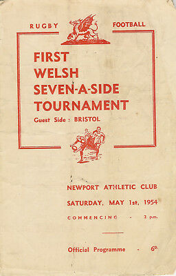 SNELLING SEVENS 1st Tournament @ Newport 1 May 1954 RUGBY PROGRAMME inc Bristol