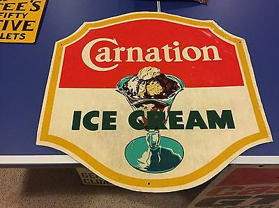 RARE Vintage Carnation Ice Cream Aluminum Sign Dairy Milk Ad Sundae Graphic