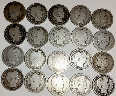 SILVER COINS - ROLL OF 20 -US BARBER QUARTERS 90% Silver - Dates range 1894-1909