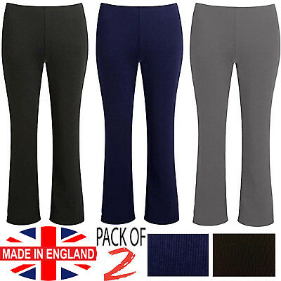Womens Ladies Bootleg Trousers 2 Pack Bootcut Stretch Ribbed Pull On Work Bottom