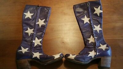 Rare late '60s Granny Takes A Trip leather boots, purple, pink stars, excellent