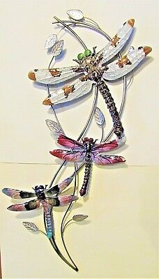 Dragonfly's on a Vine hand painted Metal wall art home decor