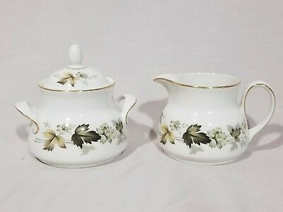 """Royal Doulton  """"Larchmont"""" Sugar Bowl with Lid and Creamer Set - EXCELLENT"""