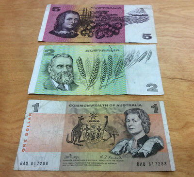 $8.00 Face Value Australian Currency Notes ~ Neat Collection 3-Different Notes