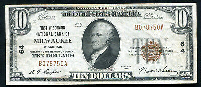 1929 $10 First Wisconsin Nb Of Milwaukee, Wi National Currency Ch. #64 Vf+
