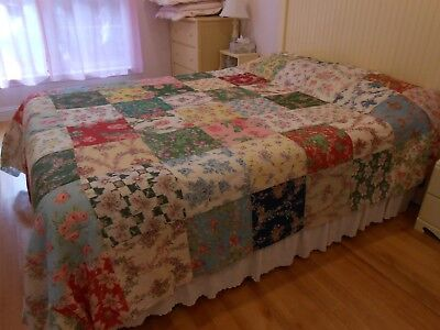 Best Antique French Fabric Quilt Top Roses Floral 90 X 102 Estate