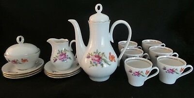 VINTAGE J. L. Menau Henneburg Porcelain German Chocolate Tea Coffee Pot set 17PC
