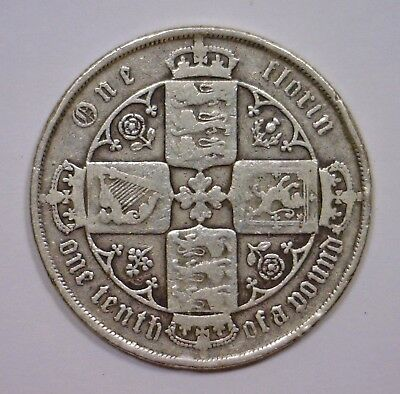 1881 Silver Florin GREAT BRITAIN Gothic Head Queen Victoria ~ Circulated