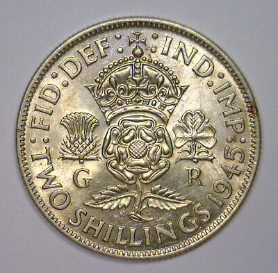 1945 Two Shillings GREAT BRITAIN King George VI ~ Lustrous Uncirculated UNC