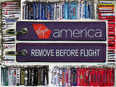 Keyring VIRGIN AMERICA AIRLINES Remove Before Flight baggage tag label keychain