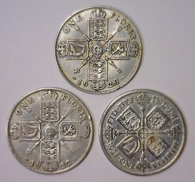 Trio of Silver Florin 1920 1922 1928 GREAT BRITAIN George V ~ Circulated Lot