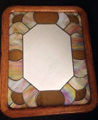 Vintage Oak Framed Wall Mirror w/ Leaded - Stained Glass - Handcrafted