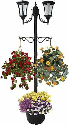 Two Head Solar Lamp Post Planter Pot Garden Flower Display Decor Accent Outdoor