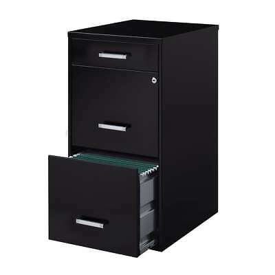 """18"""" Metal File Cabinet with 2 File Drawers and Pencil Drawer - Black"""