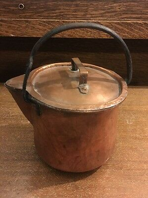 Antique 1800's Copper Rustic Tea Kettle Hammered Cast Iron Tin Lined Lid