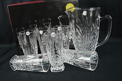 Crystal Set Of Seven, Juice Jug and Six Cups