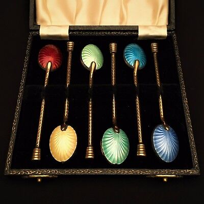 Set of 6 Russian Style Gold Wash Silver Chocolate Spoons w/ Enamel Backs in Box