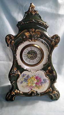 Antique Royal Bonn Finsch Clock - Green Base and Floral Decoration