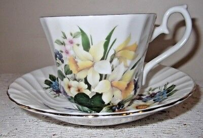 A Royal Sutherland Floral Tea Cup And Saucer