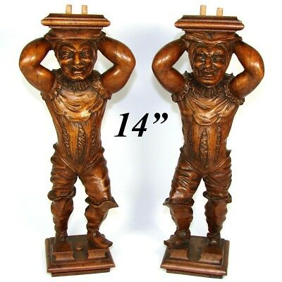 Fab PAIR Antique Carved Figural Supports, Architectural Salvage, JESTER Figures