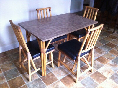 Mid Century Modern JB VanSciver Co 5 Piece Bamboo Dining Table and Chairs