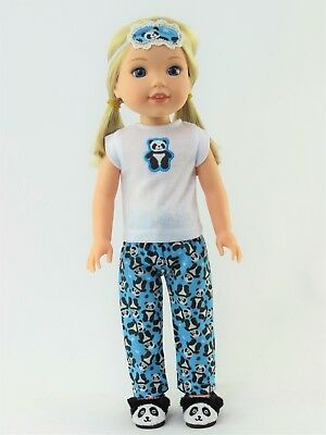 "Panda Bear Pajamas Eyemask Fits Wellie Wishers 14.5"" American Girl Clothes"