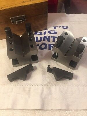 Chaun Brand Precision V-BLOCK Pair with Clamps in wooden box