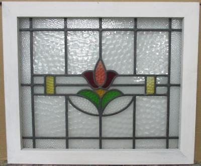 "MID SIZED OLD ENGLISH LEADED STAINED GLASS WINDOW Cute Floral 24.5"" x 21"""