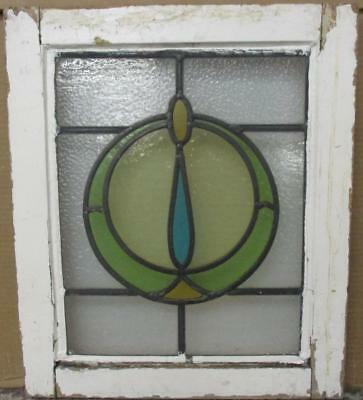 "OLD ENGLISH LEADED STAINED GLASS WINDOW Abstract Circle 15.25"" x 18"""