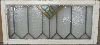 "LARGE OLD ENGLISH LEADED STAINED GLASS WINDOW Simple Geometric 32.75"" x 14.5"""