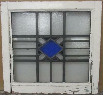 """OLD ENGLISH LEADED STAINED GLASS WINDOW Simple Diamond 20.75"""" x 19.5"""""""