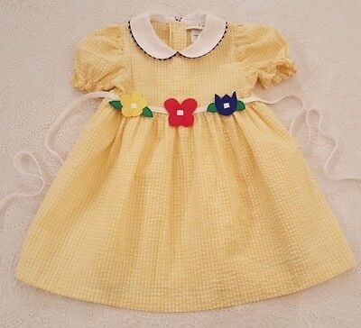 Vintage Baby Girls Toddler Yellow Dress w Flowers Childrens Clothes