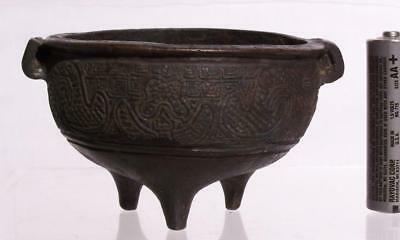 Small Chinese Yuan Dynasty Bronze Censer Molded with Archaic Bronze designs Rare