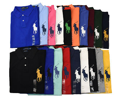 Men Polo Ralph Lauren Big Pony Mesh Polo Shirt - CUSTOM SLIM FIT - S M L XL XXL