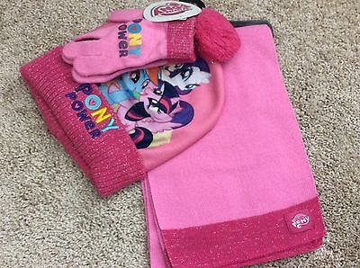 New girls one size 4-14 scarf, hat, gloves set My Little Pony pink with silver