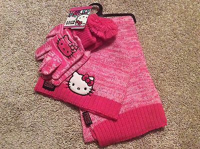 New girls Hello Kitty scarf, hat and gloves set one size 4-14 pink