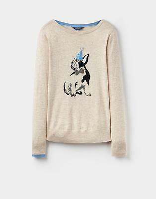 Joules 124293 Womens Sequined Scoop Neck Jumper with Dog Design in Beige