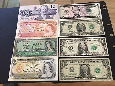 Set of USA and Canada banknotes $1,$2,$5, $10,1950-1990, 8 banknotes NICE LOT!