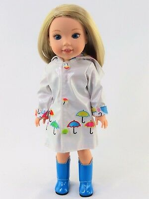 "White Raincoat and Boots Fits Wellie Wishers 14.5"" American Girl Clothes"