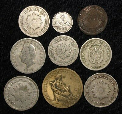 9 Coins from South and Central America.  1800's-1936.  No Reserve!!!