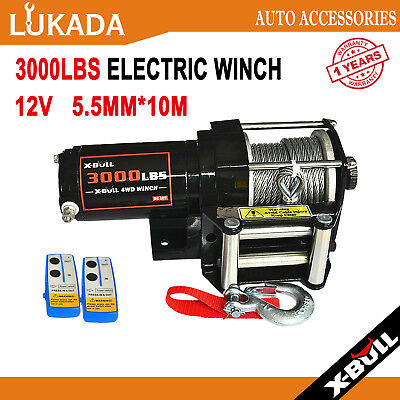 X-BULL 3000LBS/1360kg Electric Winch Wireless Steel Cable ATV BOAT 12V 4WD