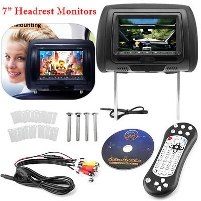 "Black HDMI 7"" HD Car Headrest Monitor 1080P Pillow NO DVD Player Headsets HM"