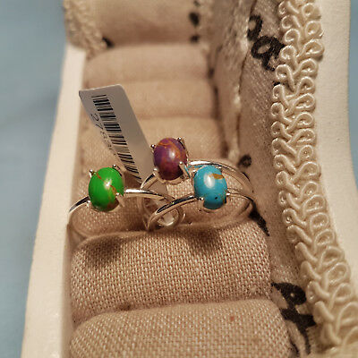 Set of 3 Mojave Turquoise rings in  Sterling Silver