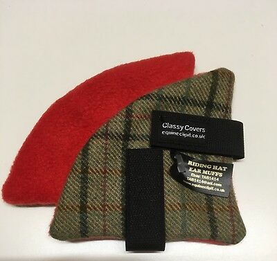Gorgeous Green Pure Wool Riding Hat Ear Muffs Warmers  Backed Red Fleece