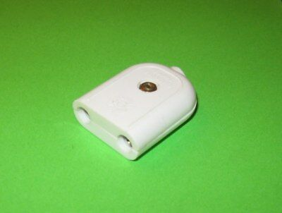 mains connector New old stock Vintage 2 pin socket White 5A for cable lead Quad