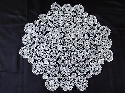 Beautiful Vintage Handmade Cotton Crochet Tablecloth